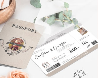 Destination Passport and Boarding Pass with RSVP Wedding Invitation 2017