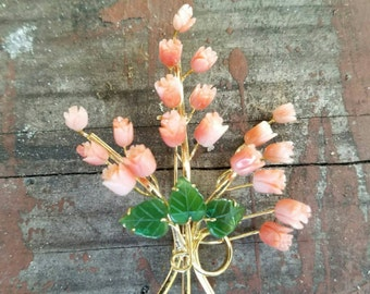1960, Pin of Carved Coral Roses