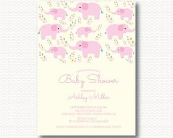 Elephant Baby Shower Invitation, Jungle, Safari, Zoo,  Elephant Shower, Pink, Baby Shower, Girls, Unique, Digital, Printable, Cute,