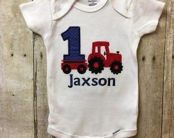 Tractor Birthday Shirt, Tractor Birthday Bodysuit, Boy Birthday Shirt, Tractor Birthday, Personalized Birthday Shirt, International Tractor