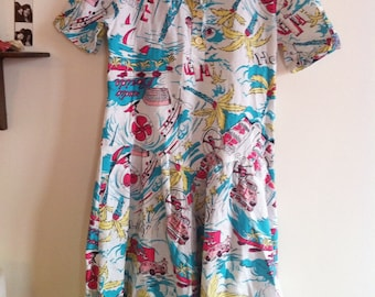 deadstock cotton dress, short sleeves, fun and colorful print / small - medium