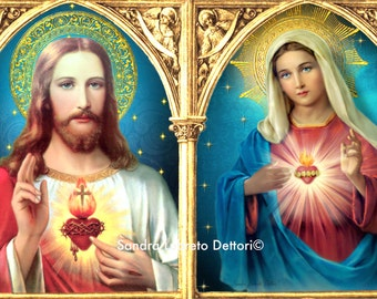 "Sacred Heart & Immaculate Heart, Religious Art, 6.35x10"" Print, Catholic art, wall art perfect religious gift"