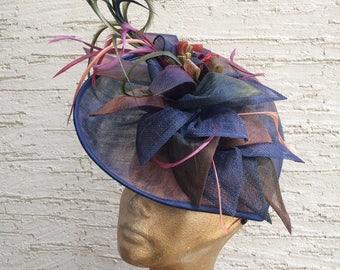 Derby hat, Royal Ascot fascinator, Kentucky derby headpiece, Multicolor navy hat, Melbourne cup hat, wedding fascinator, derby headpiece