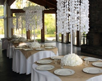 Tall Suspended Floral Chandelier Event Wedding Centerpiece with Adjustable Covered Stand and Floral Base
