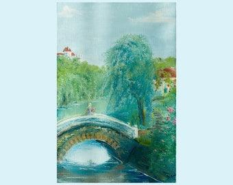 Oil Painting Landscape. Bridge. River. Grand tree. Girl. Oil painting on canvas. Original oil painting