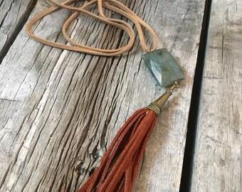Handmade Tassel Necklace with Labradorite