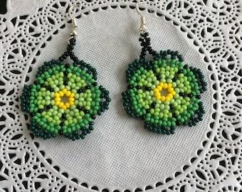 Mexican Huichol art earrings