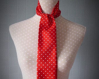 Red satin skinny scarf, red spotted mod scarf, satin polka dot scarf,  red and white spotted thin scarf, red spotted tie/bow