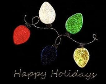 Christmas Lights - Winter - Christmas - Iron on Transfer - Sequin and Rhinestone - J8519