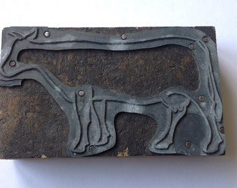Cow letterpress printing block, wood metal stamp, vintage printing supply, printers block lp02