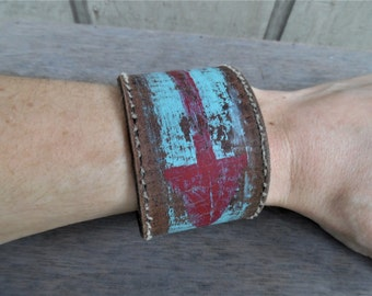 Red Turquoise Arrow Southwest Native American Painted Upcycled Leather Cuff Bracelet