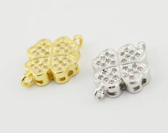 1pc 17x12mm Four Leaves Clover Charm Lucky Clover Pendants Findings Jewelry Accessories WX