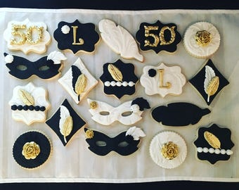 Roaring 20's Great Gatsby Masquerade Themed Sugar Cookies