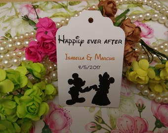 happily ever after Tags, Wedding Thank You Tags, Custom Wedding Tags, Favor Tags. Bridal Tags Disney tags Set of 25 to 300 pieces