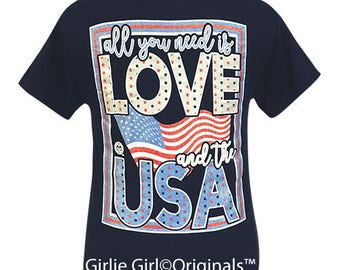 Girlie Girl Originals All You Need-USA Navy Short Sleeve T-Shirt