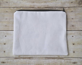 Canvas Bag, Canvas Make up Bag, Canvas Pouch, Zipper Pouch, Bag, Blank Canvas Bag, Blank Bag