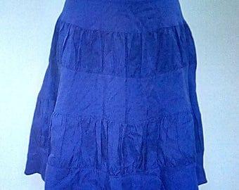 Vintage 90s skirt by Reiss 100% silk tiered layered purple skirt size small medium