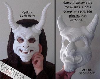 Horned Demon Mask, Cast Resin Mask Kit, Scary Monster Mask, Animal Demon Mask Blank, Krampus Mask, Masquerade, DIY Mask, Devil Face Mask