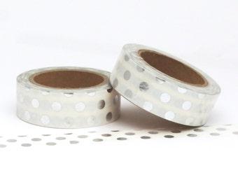 Washi Tape Silver Metallic Foil Polka Dot Spots