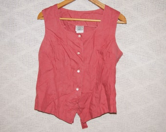 Vintage 1980's - Laura Ashley Linen Vest Waistcoat  in Mauve - Size 12 - Top Pink Red