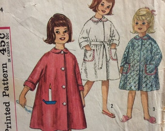 Simplicity 4536 girls robe size 4  Simple to Make vintage 1960's sewing pattern