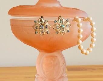 Vintage Pink Frosted Glass Vanity Pedestal Bowl