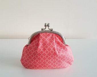 Purse / big coin purse / change purse / coin purse / Kiss lock purse / clasp purse/make up bag/clutch - peach/salmon/coral/gift