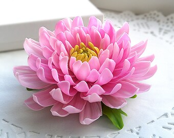 Rose chrysanthemum flower brooch. Clay flowers. Floral brooch. Flower jewelry.