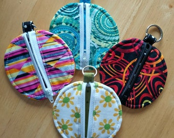 Circle Zip KeyChain Pouch, Coin purse, Earbud case