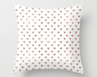 Rose Gold Hearts Pillow Rose Gold Decor Tiny Hearts Pillow Cover Modern Girls room Throw Pillow Cover rose Gold Gifts for Her Dorm Room