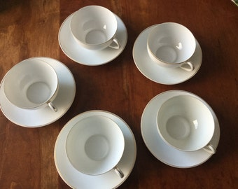 Cups and saucers: Five Nippon Japanese Porcelain Tea Cups with Handpainted Gold Handles