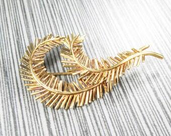 Vintage Tiffany Pin 18k Gold Pin Yellow Gold Pin Feather Pin Pine Bough Pin Tiffany & Co Italy Pin Brooch