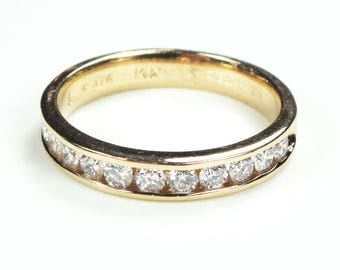 Vintage 14k Gold Diamond Wedding Band 14k Yellow Gold Wedding Ring Channel Set Diamond Band Round Brilliant Cut Diamond Ring Size 7