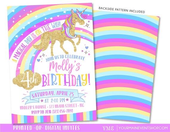 Unicorn Birthday Invitation • Rainbow Invite • Magical Unicorn Rainbow Birthday Invitation Printable