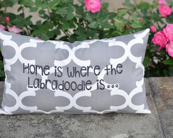 Home is Where the Lab is Quatrefoil Throw Pillow || Rectangle or Square Decorative Pillow by Three Spoiled Dogs
