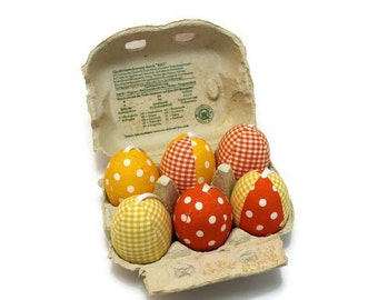 Easter eggs made of fabric sewn fabric eggs fabric Easter eggs 6 pieces in carton unbreakable yellow orange white Eisbaerchenmama