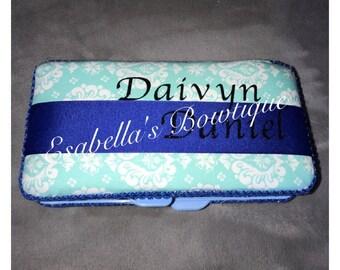 Blue wipe case; boys wipe case;wipes container;aqua wipe case;personalized wipe case