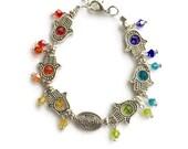 Silver Hamsa Hands Bracelet, Rainbow Bracelet, Chakra Bracelet, Hamsa Hand Bracelet, Zen Bracelet, Zen Jewelry, Chakra Jewelry