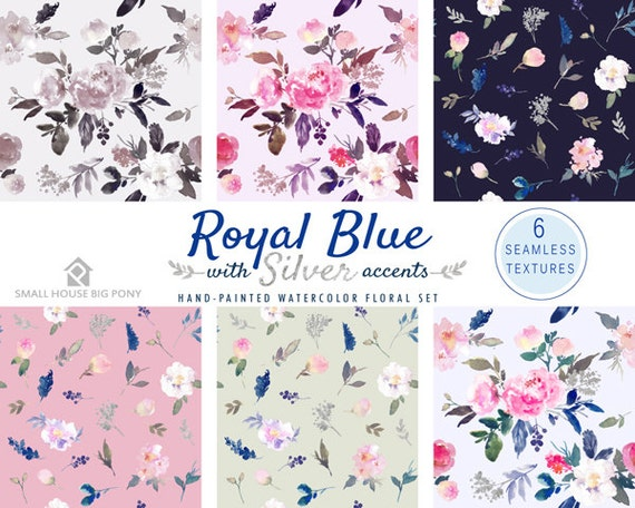 Watercolour Flower Clip Art Collection - Hand Painted Graphics- Royal Blue with Silver accents Seamless Floral Pattern