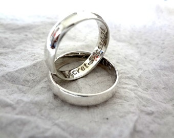 Sterling Silver Ring Secret Message Engravable Personalised Message