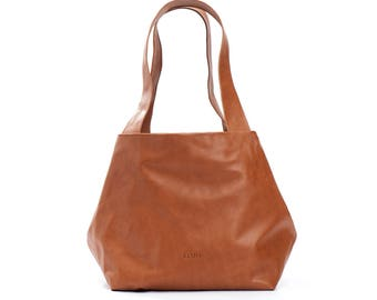 brown leather bag - brown leather handbag - brown leather purse - brown leather tote - brown bag - small leather tote bag - CSL