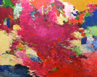 Very large Oil Abstract, 36x48 inches, red, fuchsia, green, blue, yellow ochre, texture, vibrant