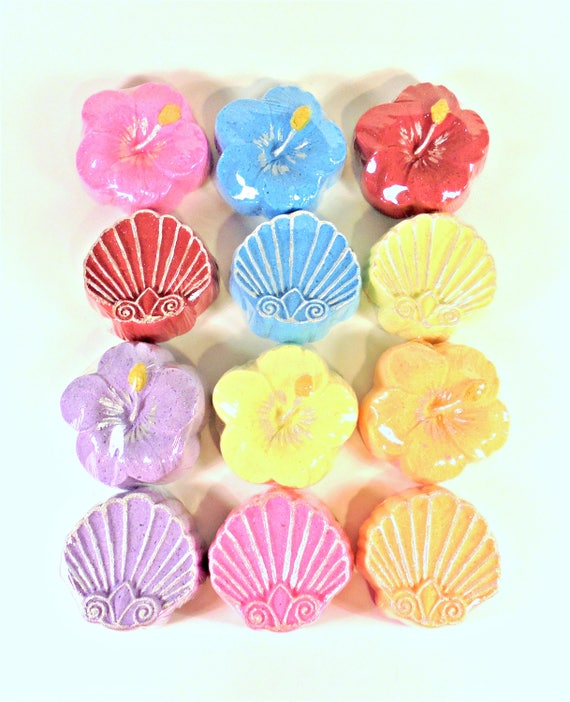 12 hibiscus flowers and sea shell bath bomb set hibiscus bath