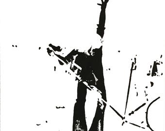 """Rock singer stretched print on canvas. 12"""" X 12"""" black and white. Original was acrylic on canvas."""
