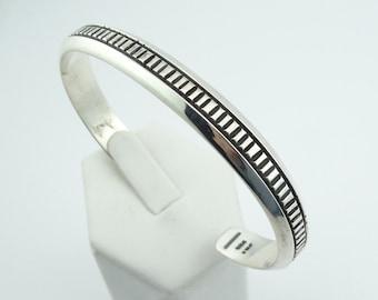 Simple Vintage Solid Sterling Silver Cuff Bracelet  #JRI-CF4