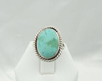 "Hand Signed ""L.T. '76"" Vintage Turquoise Sterling Silver Native American Ring Size 7 1/4  #LT76-SR3"