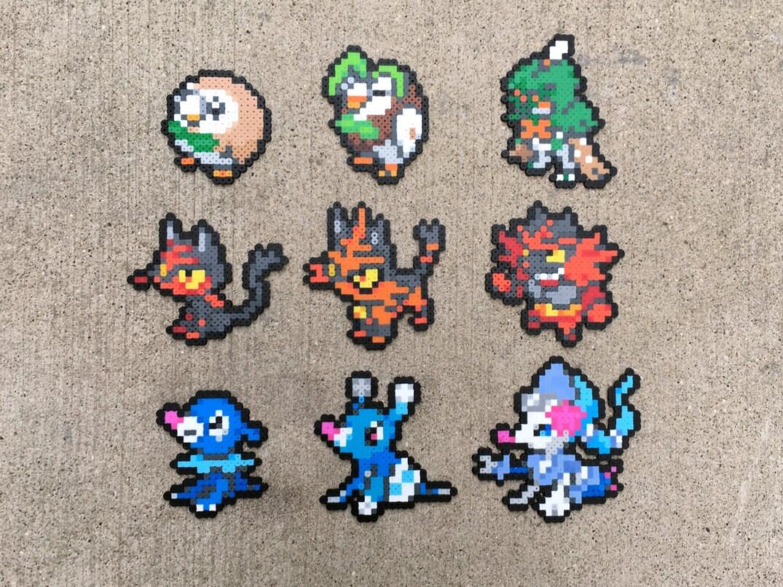 Pokemon coloring pages popplio - Gen 7 Alola Starters Rowlet Dartrix Decidueye Litten Torracat Incineroar