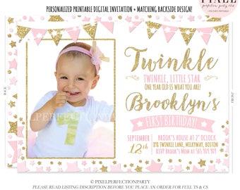 Twinkle Twinkle Little Star Invitation Twinkle Twinkle Little Star Pink And Gold Birthday Invitation Pink Gold Invitation 1st Birthday Party