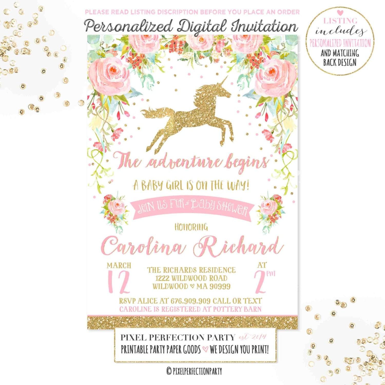 unicorn baby shower | etsy, Baby shower invitations