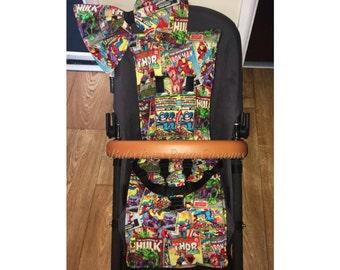 Marvel superhero UNIVERSAL pram buggy set liner hood bow and strap pads bugaboo